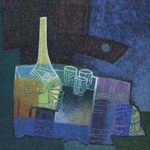 2. Nghiêm Xuân Hưng, tĩnh vật, tranh in, 37x37cm, 1995