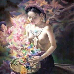 21. Nghiêm Xuân Hưng, cô gái với tò he con gà, sơn dầu, 100x80cm, 2016-2018