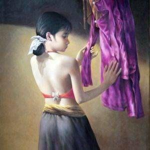 28. Nghiêm Xuân Hưng, thay áo, sơn dầu, 100x80cm, 04-2018