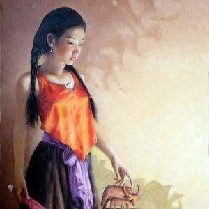 30. Nghiêm Xuân Hưng, con trâu đất, sơn dầu, 100x80cm, 5-2018