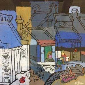 4. Nghiêm Xuân Hưng, phong cảnh 3, in khắc gỗ, 37×38, 1994