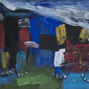 5. Đỗ Phấn, mèo, bột màu, 38x52cm, 2011