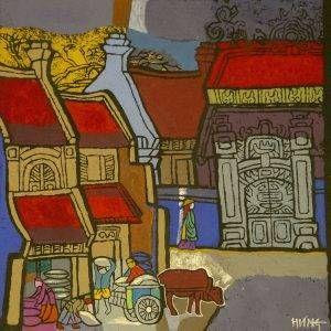 5. Nghiêm Xuân Hưng, phong cảnh4, in khắc gỗ, 37×37, 1994