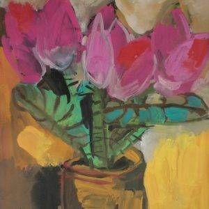 7. Đỗ Phấn, sen, bột màu, 52x37cm, 2004