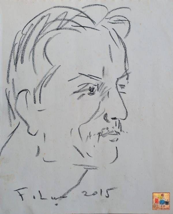 1. Phạm Lực, chân dung, chì màu, 32x26cm, 2015