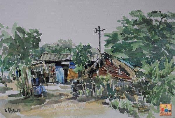 1. Văn Chiến, ký họa phong cảnh, mầu nước, 26x37cm, 2016