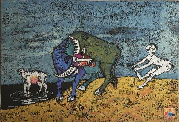 12. Nguyễn Văn Cường, cậu bé chăn trâu, khắc gỗ, 60x85cm, 1996