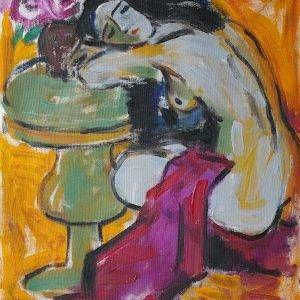 14.Phạm Lực, Chợp mắt, sơn dầu, 77×57 cm,1992