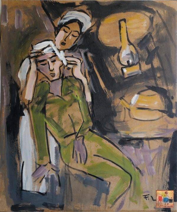 15.Phạm Lực, Băng bó vết thương, sơn dầu, 79×66 cm, 1972