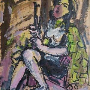 16.Phạm Lực, Canh máy bay địch, sơn dầu, 79×66 cm, 1965