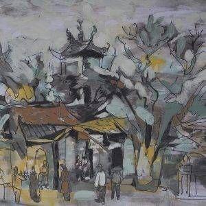 2. Văn Chiến, ký họa phong cảnh, mầu nước, 28x42cm, 2014
