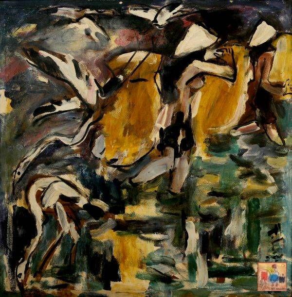 20.Phạm Lực, cánh cò, sơn dầu, 80x80cm, 1973