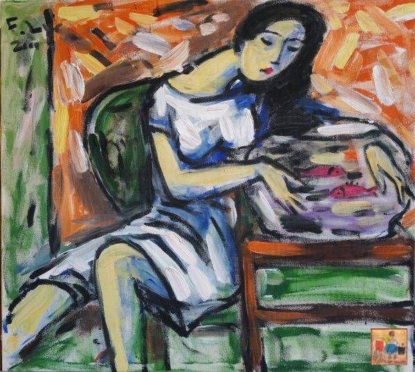 22.Phạm Lực, Cô gái bên bình cá, sơn dầu, 85×95 cm, 2001