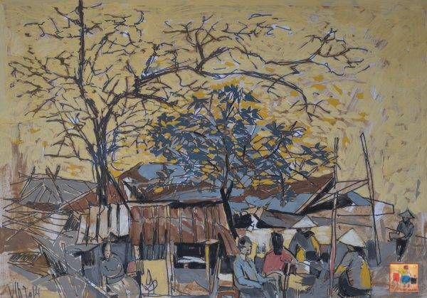 3. Văn Chiến, ký họa phong cảnh, mầu nước, 29x41cm, 2014