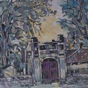 4. Văn Chiến, ký họa Văn Miếu, mầu nước, 30x42cm, 2014