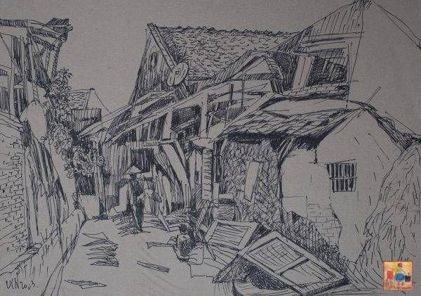 6. Văn Chiến, ký họa phong cảnh 1, bút kim, 33×46, 2003