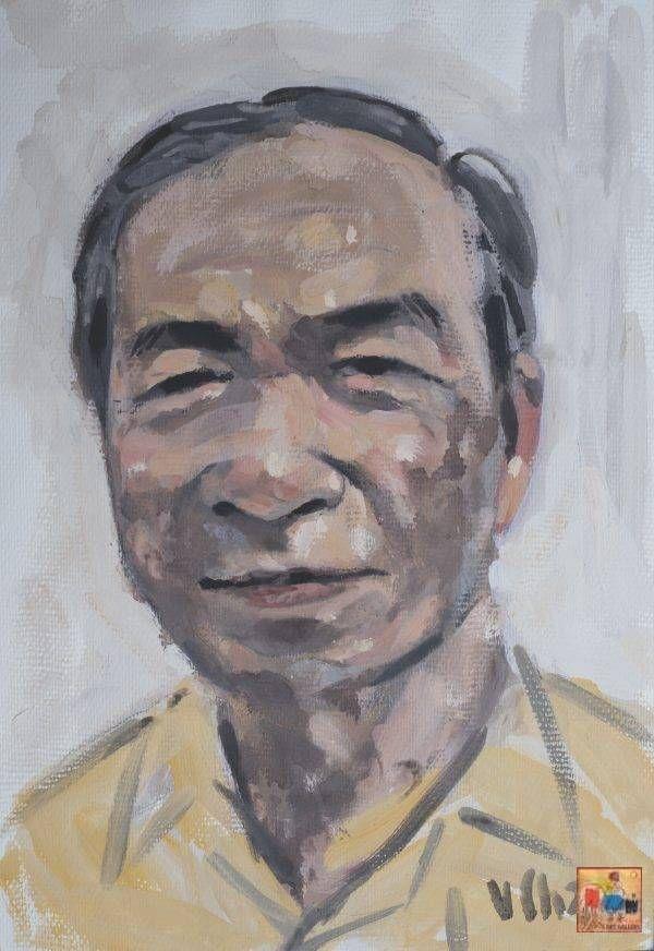 7. Văn Chiến, chân dung Trương Văn Thuận, mầu nước, 38x26cm, 2016