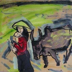 7.Phạm Lực, Tình mẫu tử, sơn dầu, 66×79 cm