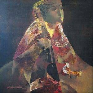 1. Hồ Hữu Thủ, cô đơn, sơn mài, 61×61 cm, 2013
