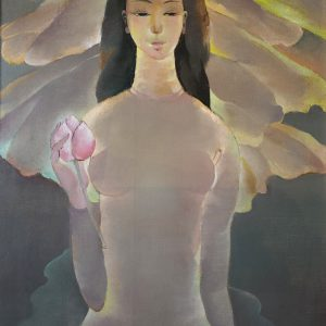 4. Hồ Hữu Thủ, Sen hồng, sơn dầu, 82×62 cm, 2014