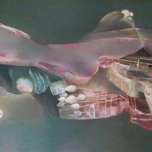 7. Hồ Hữu Thủ, Người cá, sơn dầu, 100×200 cm, 2015