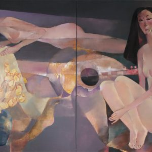 8. Hồ Hữu Thủ, dư âm của hạnh phúc, sơn dầu, 100x200cm, 2019