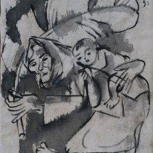 1. Phạm Lực, Bà cháu, sơn dầu, 42x36cm, 1997