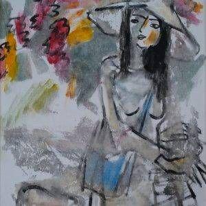 11. Phạm Lực, Nữ sinh, sơn dầu, 82x62cm, 1988