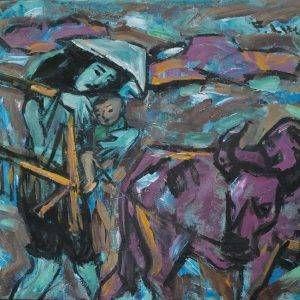 14. Phạm Lực, Mẹ con ra đồng, sơn dầu, 90x115cm, 1987