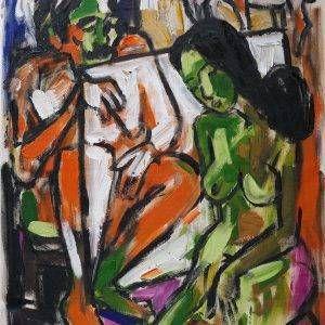 16. Phạm Lực, Họa sĩ và người mẫu, sơn dầu, 105x75cm, 2016
