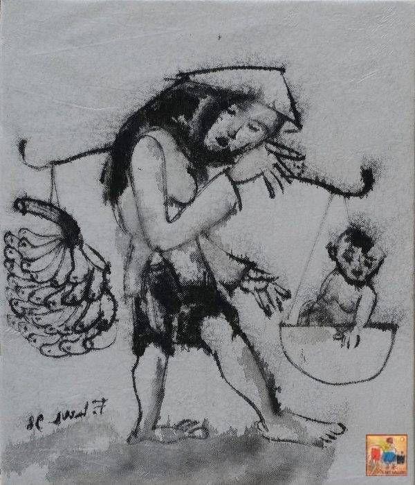 2. Phạm Lực, Gánh con, sơn dầu, 42x36cm