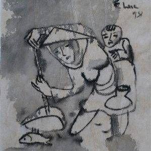 3. Phạm Lực, Vợt cá, sơn dầu, 42x36cm, 1998