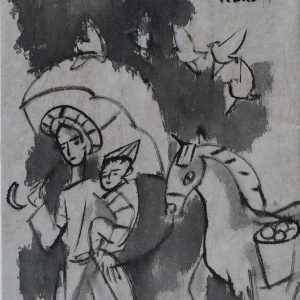 5. Phạm Lực, Địu con, sơn dầu, 43x38cm, 1999