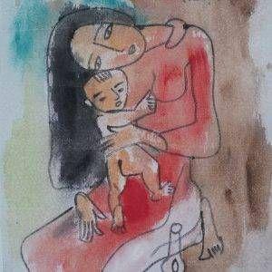 6. Phạm Lực, Bồng con, sơn dầu, 63x48cm, 1988