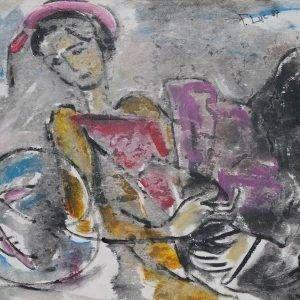 8. Phạm Lực, Thiếu nữ bên bể cá, sơn dầu, 64x84cm, 1987