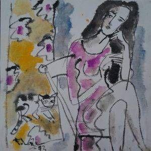 9. Phạm Lực, Trầm tư, sơn dầu, 68x68cm, 1993